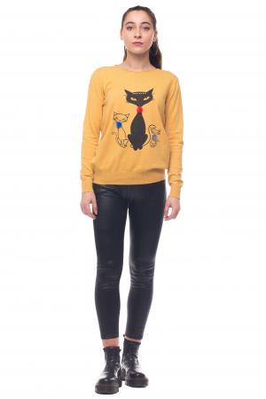 Pulover galben vesel cu imprimeu pisici0