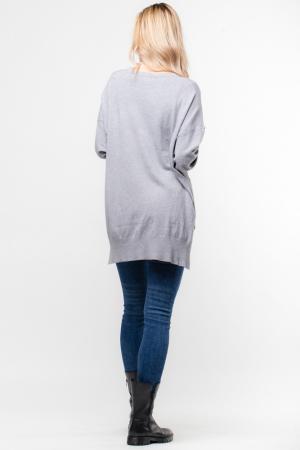 Pulover gri cu buzunar din blana artificiala [1]