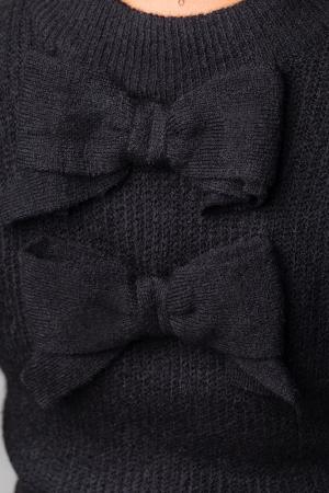 Pulover negru fashion cu doua funde pe spate2