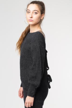 Pulover negru slylish lung cu decolteu si funde la spate [1]