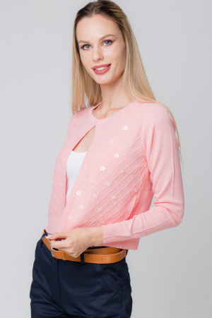 Pulover subtire roz cu paiete1