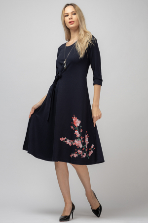 Rochie `A line` midi, neagra cu imprimeu flori de cires [0]