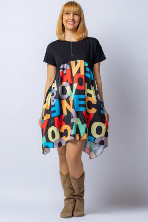Rochie trendy neagra cu imprimeu litere colorate, din bumbac, cu maneca lunga [0]