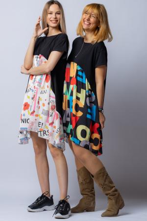 Rochie trendy neagra cu imprimeu litere colorate, din bumbac, cu maneca lunga [3]