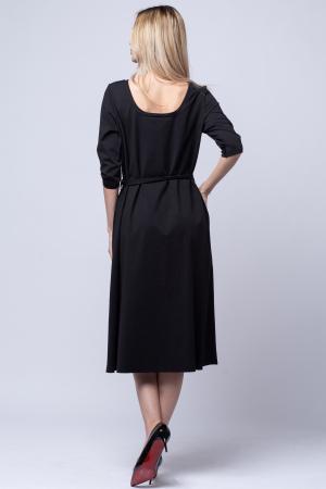 Rochie eleganta, cordon in talie, neagra [3]