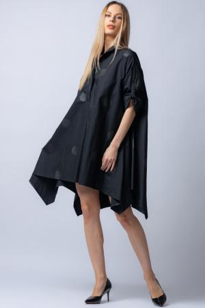 Rochie trendy din poplin satinat,neagra, asimetrica, oversize, cu buline [0]