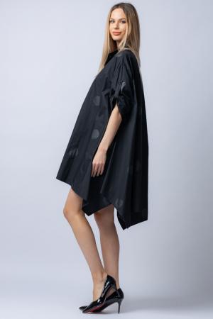 Rochie trendy din poplin satinat,neagra, asimetrica, oversize, cu buline [1]