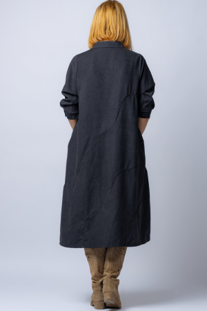 Rochie neagra midi, cu guler tip camasa si model cusaturi [2]
