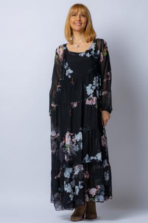 Rochie neagra, lunga, cu imrpimeu flori de cires, din matase [1]