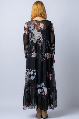 Rochie neagra, lunga, cu imrpimeu flori de cires, din matase [3]