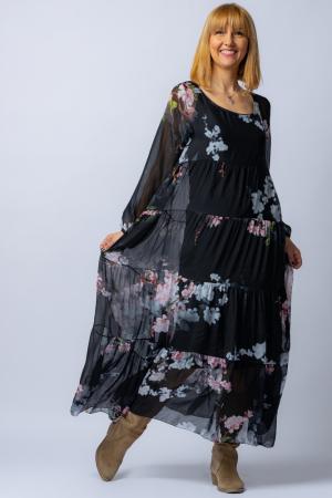 Rochie neagra, lunga, cu imrpimeu flori de cires, din matase [2]