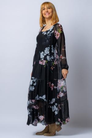 Rochie neagra, lunga, cu imrpimeu flori de cires, din matase [0]