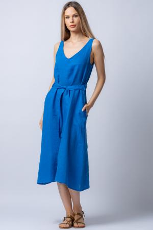 Rochie albastra tip maiou, cordon in talie, din in [0]