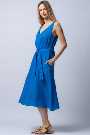 Rochie albastra tip maiou, cordon in talie, din in [1]