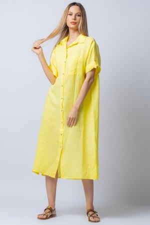 Rochie midi galbena, tip camasa, cu buzunare aplicate, din in [0]