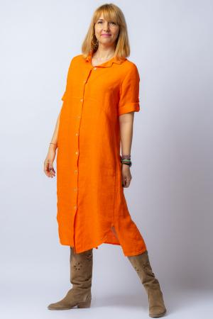 Rochie midi portocalie, tip camasa, din in [1]