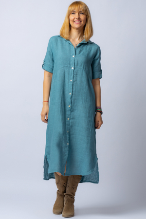 Rochie midi albastru jeans, tip camasa, din in [0]