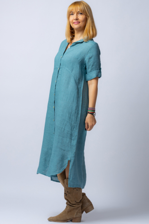 Rochie midi albastru jeans, tip camasa, din in [1]