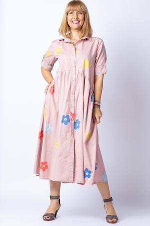 Rochie camasa roz prafuit cu flori multicolore, din tesatura fina de bumbac [0]