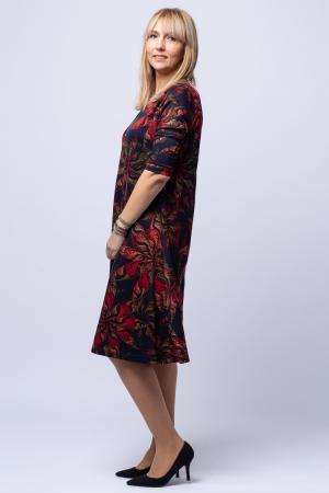 Rochie `A line` midi, bleumarin imprimeu flori rosii, din vascoza [1]