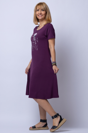 Rochie `A line` midi, bordo din tricot cu imprimeu chip de fata [1]