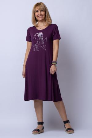 Rochie `A line` midi, bordo din tricot cu imprimeu chip de fata [0]