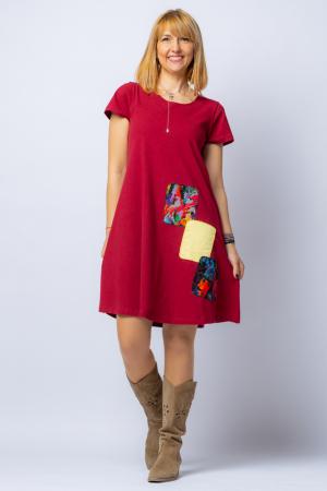 Rochie `A line` midi, bordo, din tricot plin cu aplicatie unicat [0]