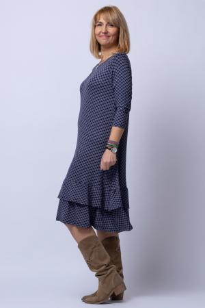 Rochie `A line` midi, din tricot gri cu imprimeu si doua volane poale1