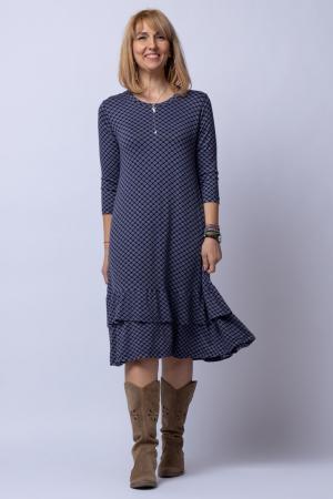Rochie `A line` midi, din tricot gri cu imprimeu si doua volane poale0