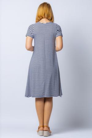 Rochie `A line` midi, dungi marinar din tricot cu imprimeu chip de fata [2]
