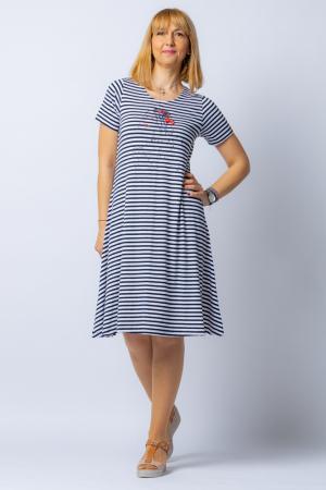 Rochie `A line` midi, dungi marinar din tricot cu imprimeu chip de fata [0]