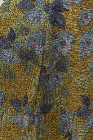 Rochie `A line` midi, imprimeu flori albastrui, din vascoza [6]