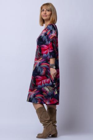Rochie `A line` midi, imprimeu predominant in nuante de bleumarin-rosu, din vascoza [2]