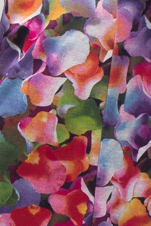 Rochie `A line` midi, imprimeu predominant in nuante de roz si mov, din vascoza [3]