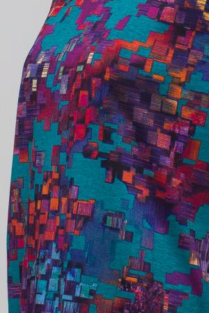 Rochie `A line` midi, imprimeu predominant in nuante de turquoise, din vascoza4