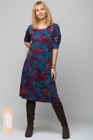 Rochie `A line` midi, imprimeu predominant in nuante de turquoise, din vascoza3