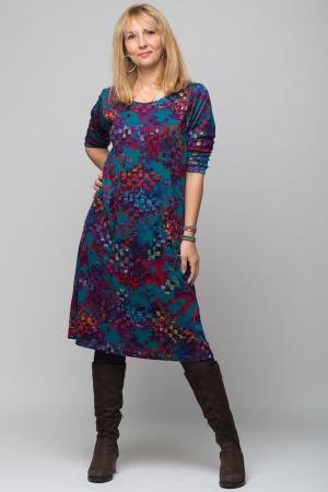 Rochie `A line` midi, imprimeu predominant in nuante de turquoise, din vascoza0