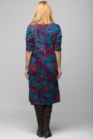 Rochie `A line` midi, imprimeu predominant in nuante de turquoise, din vascoza2
