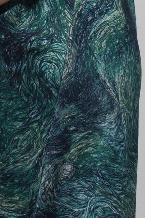 Rochie `A line` midi, imprimeu predominant in nuante de verde si albastru, din vascoza4