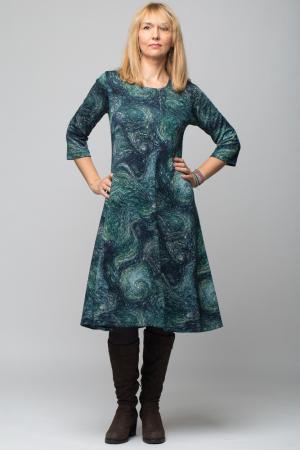 Rochie `A line` midi, imprimeu predominant in nuante de verde si albastru, din vascoza0