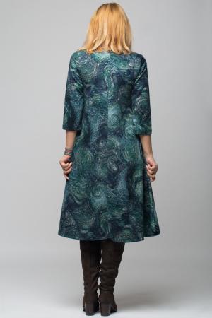 Rochie `A line` midi, imprimeu predominant in nuante de verde si albastru, din vascoza2