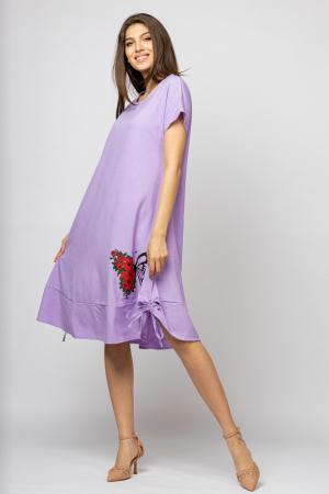 Rochie `A line` midi, lila, cu sireturi laterale si imprimeu fluture cu flori [1]
