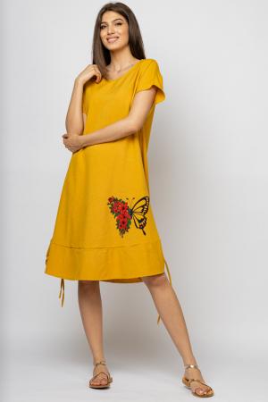 Rochie `A line` midi, mustar, cu sireturi laterale si imprimeu fluture cu flori [1]