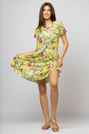 Rochie `A line` midi, silky, cu imprimeu floral pe fundal galben [0]
