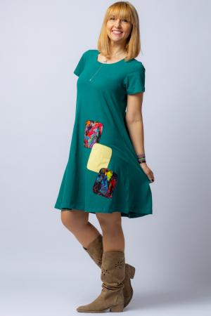 Rochie `A line` midi, verde, din tricot  plin cu aplicatie unicat [1]