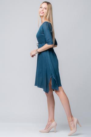 Rochie albastra din jerse cu floricele din piele pe cordon [1]