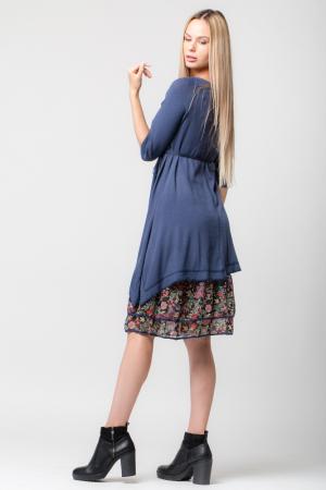 Rochie albastra din tricot cu volan din voal imprimat1