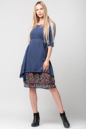 Rochie albastra din tricot cu volan din voal imprimat0