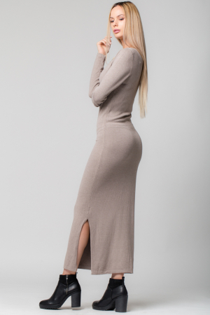 Rochie bej lunga tricotata [1]