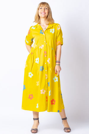 Rochie camasa galbena cu flori multicolore, din tesatura fina de bumbac [0]